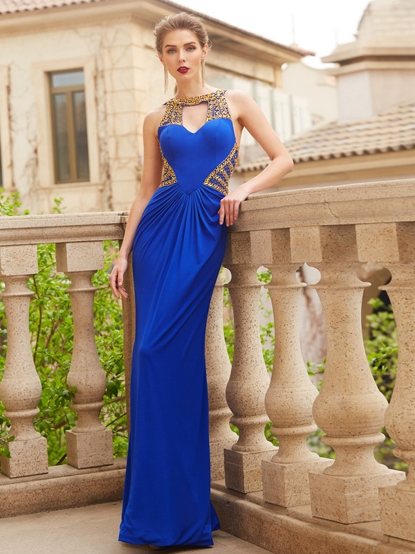 Sheath/Column Scoop Long Spandex Dress