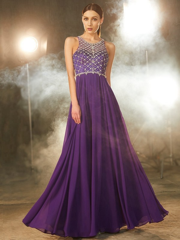 A-Line/Princess Chiffon Scoop Long Dress