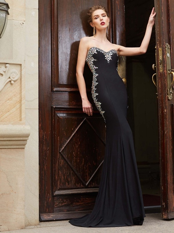 Sheath/Column Sweetheart Sequins Spandex Long Dress