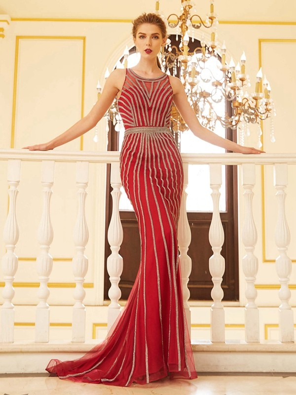 Sheath/Column Scoop Net Long Dress