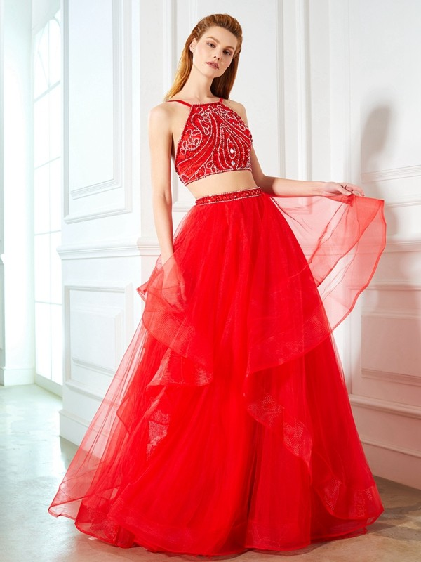 A-Line/Princess Spaghetti Straps Long Tulle Two Piece Dress