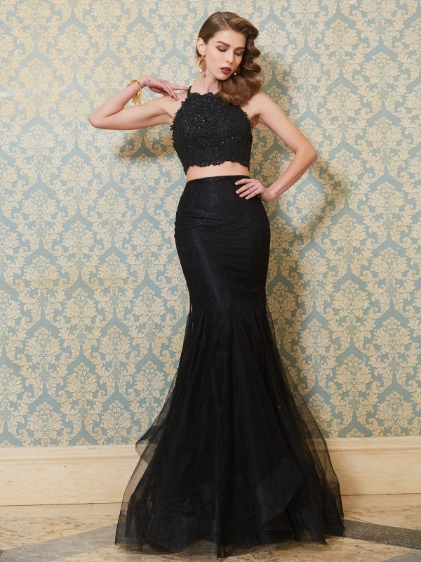 Mermaid Spaghetti Straps Long Tulle Two Piece Dress