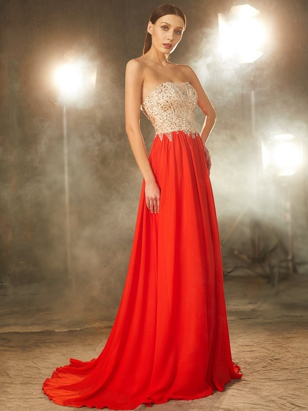 A-Line/Princess Strapless Chiffon Long Dress