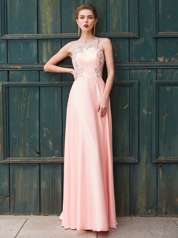 A-Line/Princess Scoop Satin Long Dress