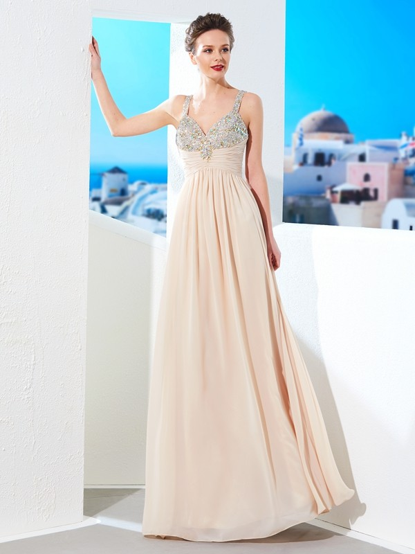 A-Line/Princess Spaghetti Straps Long Chiffon Dress