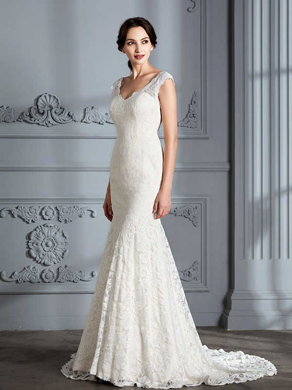 Mermaid V-Neck Lace Long Wedding Dress