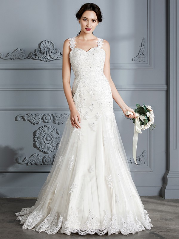 Mermaid Sweetheart Lace Long Wedding Dress