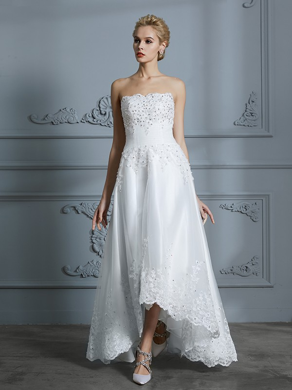 A-Line/Princess Sweetheart Asymmetrical Tulle Wedding Dress