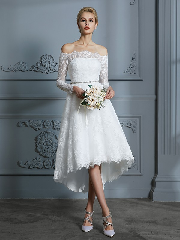 A-Line/Princess Long Sleeves Off-the-Shoulder Asymmetrical Lace Wedding Dress