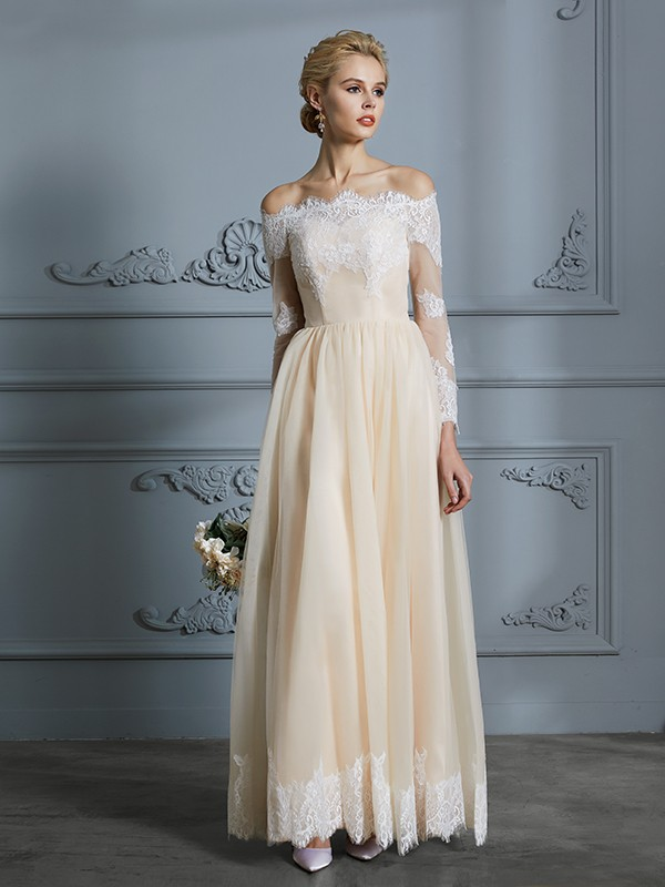 A-Line/Princess Off-the-Shoulder Long Sleeves Long Tulle Wedding Dress