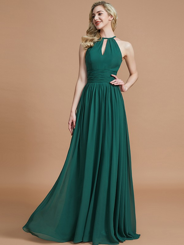 A-Line/Princess Chiffon Scoop Long Bridesmaid Dress