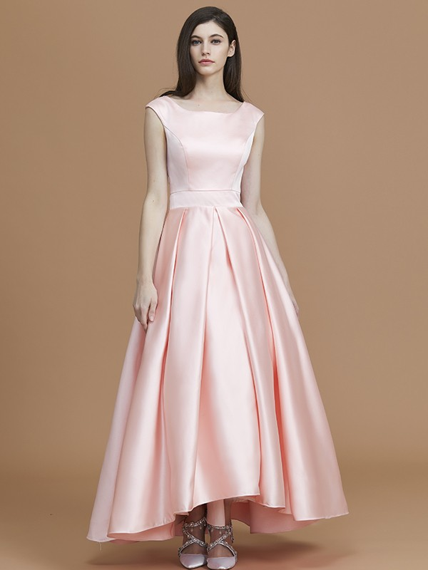 A-Line/Princess Bateau Asymmetrical Satin Bridesmaid Dress