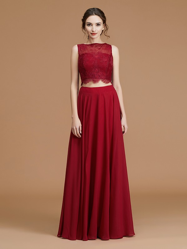 A-Line/Princess Bateau Long Chiffon Bridesmaid Dress