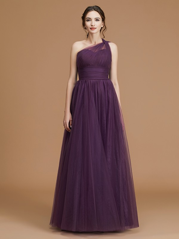 A-Line/Princess One-Shoulder Long Tulle Bridesmaid Dress