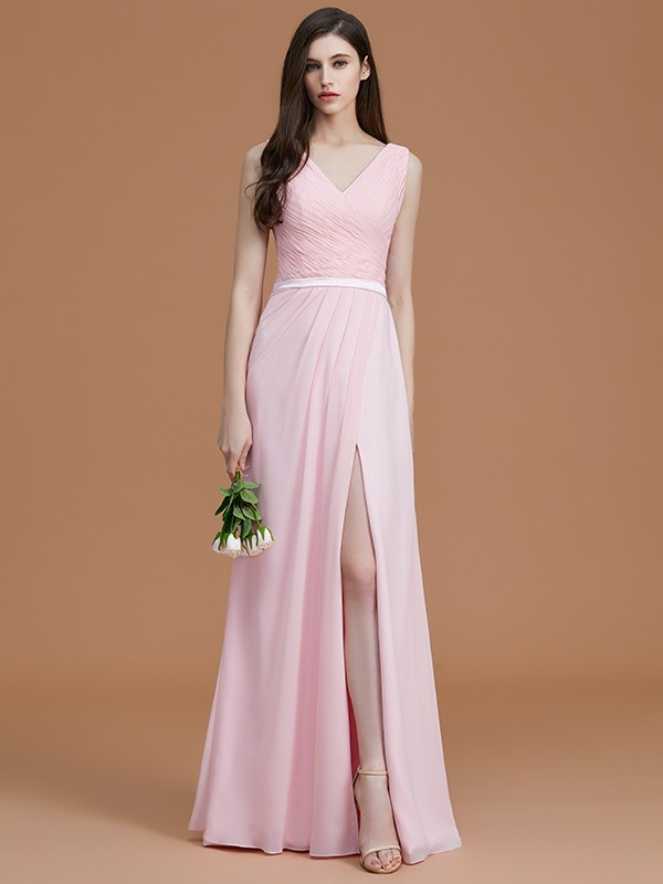 A-Line/Princess V-neck Long Chiffon Bridesmaid Dress