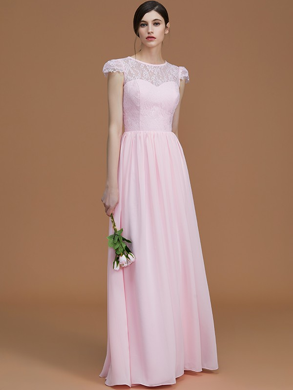 A-Line/Princess Jewel Short Sleeves Long Chiffon Bridesmaid Dress