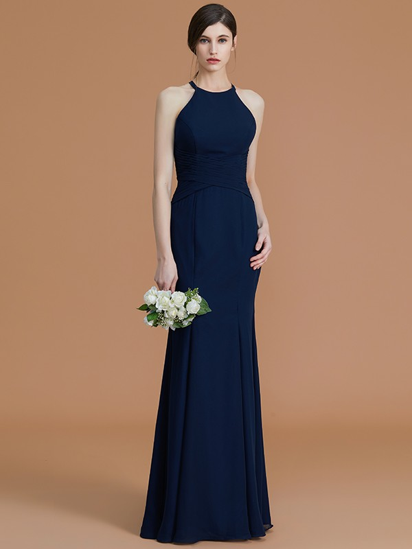 Mermaid Halter Long Chiffon Bridesmaid Dress