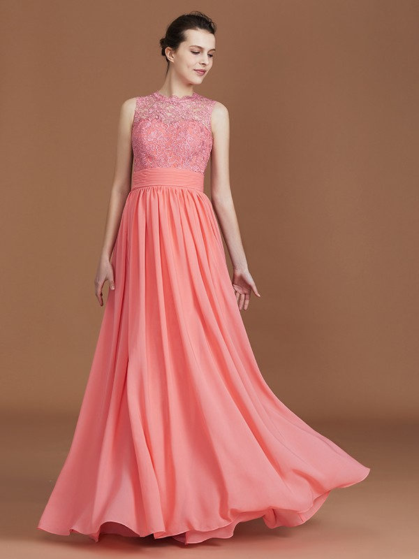A-Line/Princess Jewel Lace Long Chiffon Bridesmaid Dress