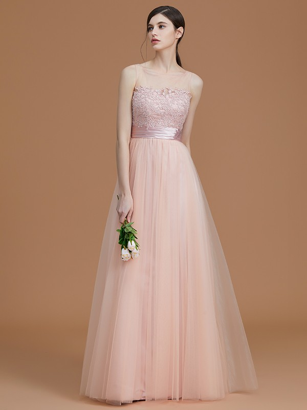 A-Line/Princess Bateau Long Tulle Bridesmaid Dress