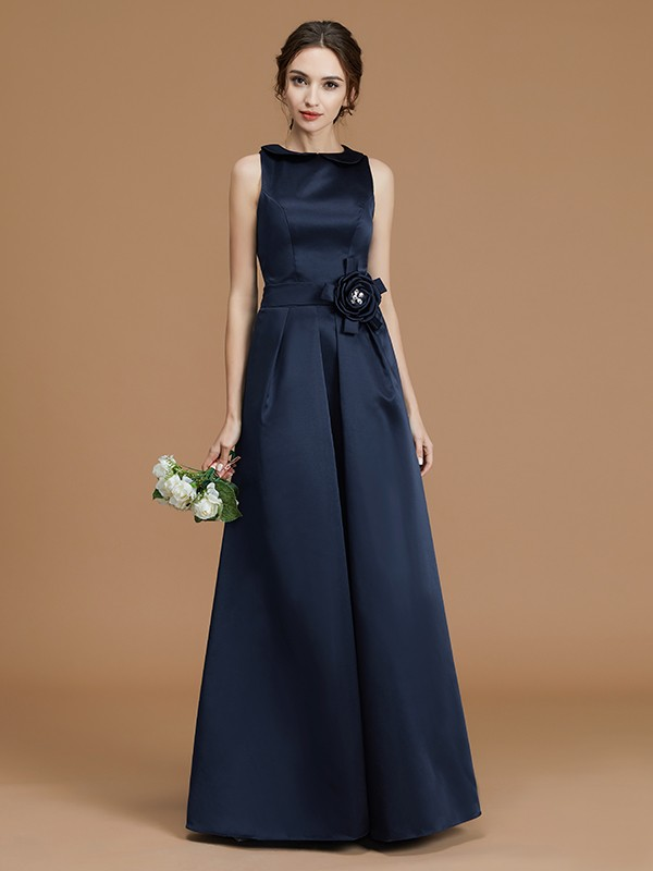 A-Line/Princess Bateau Long Satin Bridesmaid Dress