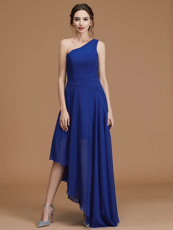Fancy A-Line/Princess One-Shoulder Asymmetrical Chiffon Bridesmaid Dress