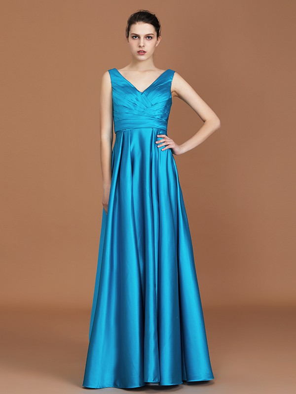 A-Line/Princess V-neck Long Satin Bridesmaid Dress