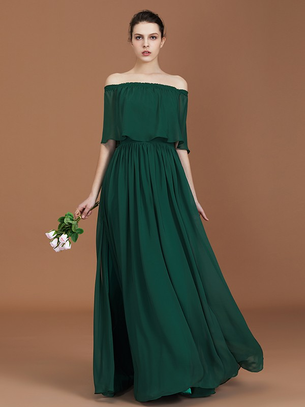 A-Line/Princess Off-the-Shoulder Long Chiffon Bridesmaid Dress