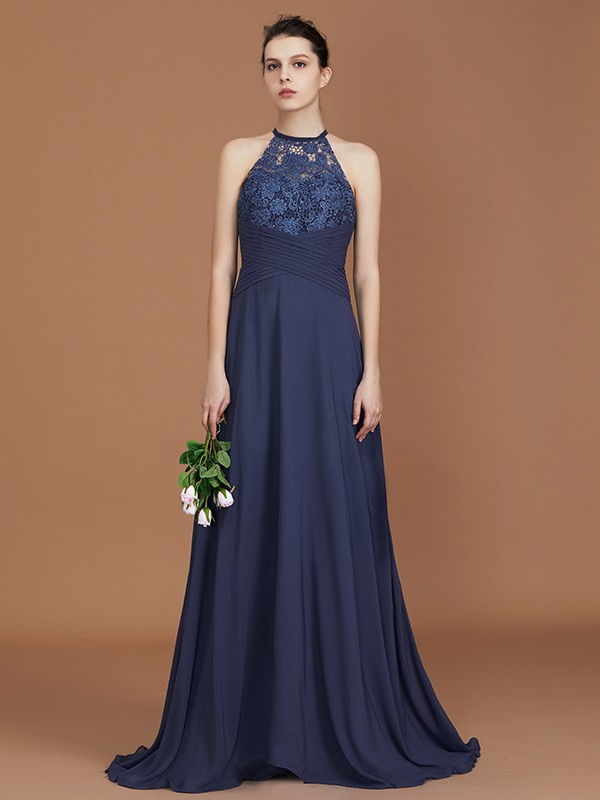 A-Line/Princess Scoop Sweep Train Chiffon Bridesmaid Dress