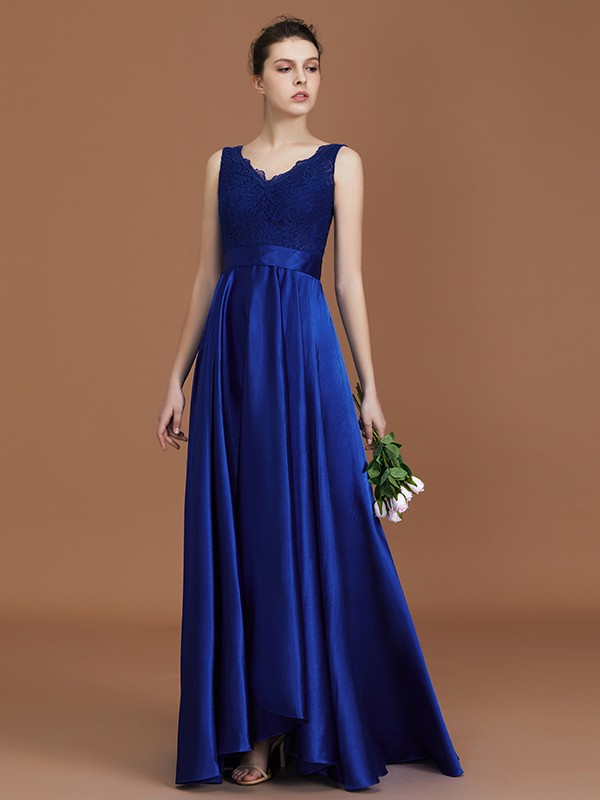 A-Line/Princess V-neck Satin Asymmetrical Lace Bridesmaid Dress