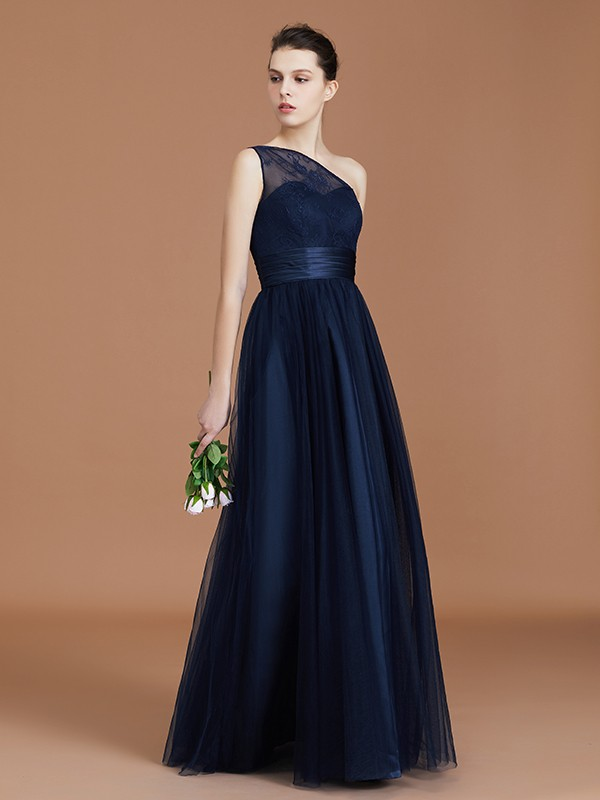 A-Line/Princess One-Shoulder Tulle Long Bridesmaid Dress