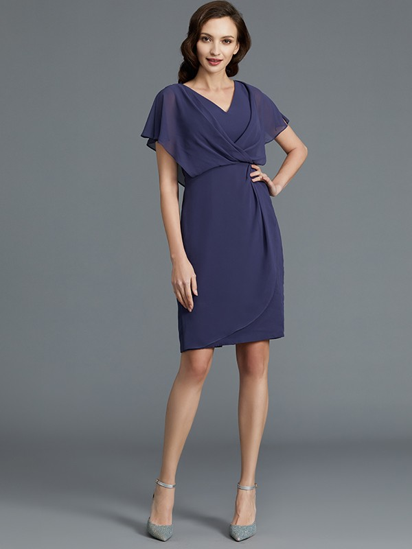 Sheath/Column V-neck Short Sleeves Chiffon Short Mother of the Bride Dress