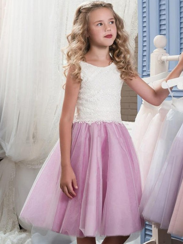 A-Line/Princess Scoop Short Tulle Flower Girl Dress