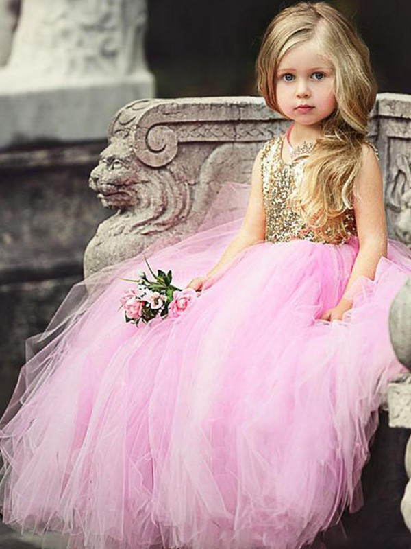 Ball Gown Scoop Long Tulle Flower Girl Dress