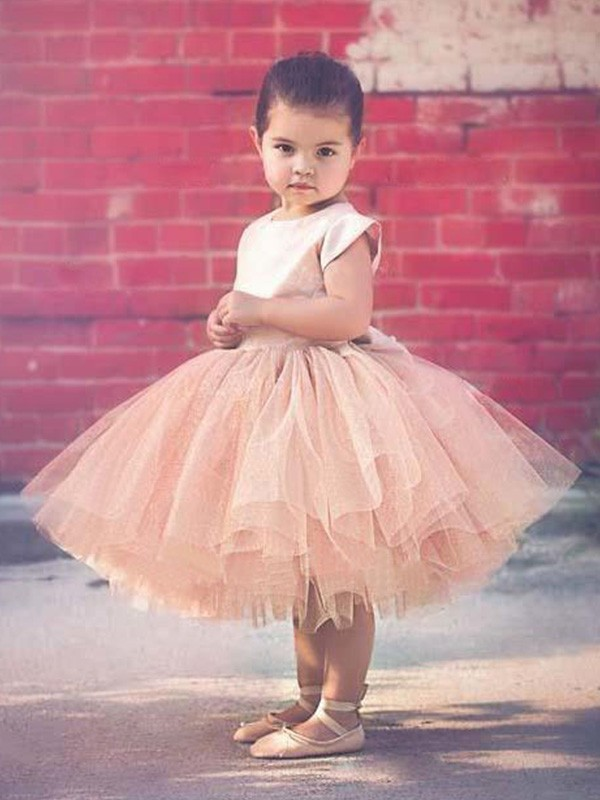 Ball Gown Short Sleeves Scoop Short Tulle Flower Girl Dress