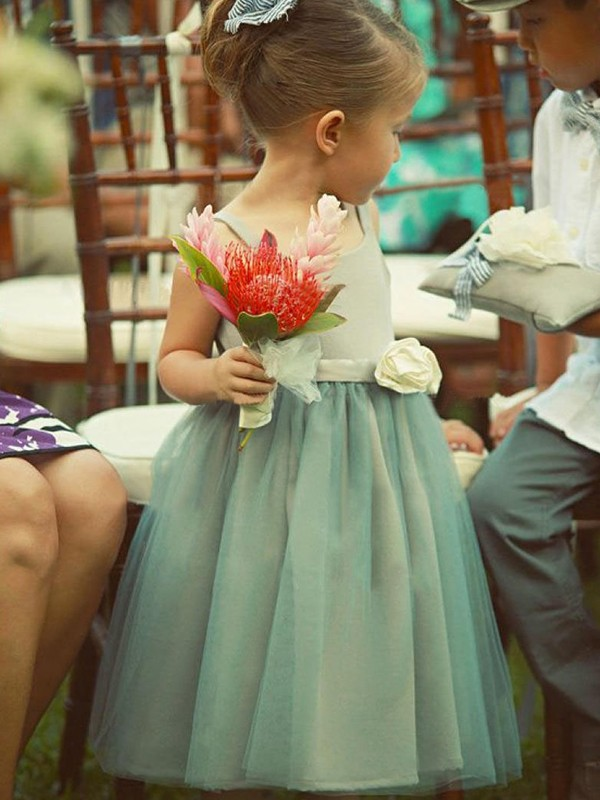 A-Line/Princess Square Tea-Length Tulle Flower Girl Dress