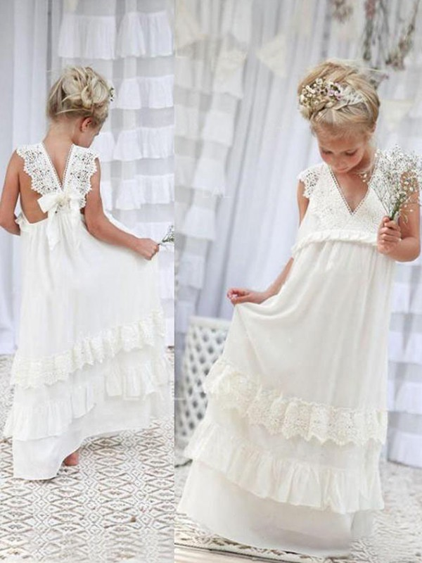Empire V-neck Long Chiffon Flower Girl Dress