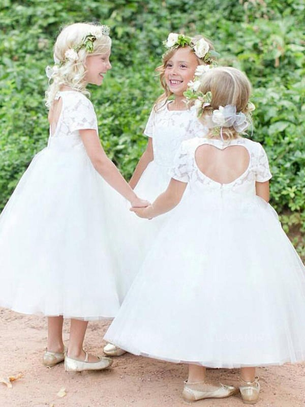 Ball Gown Short Sleeves Scoop Tea-Length Tulle Flower Girl Dress