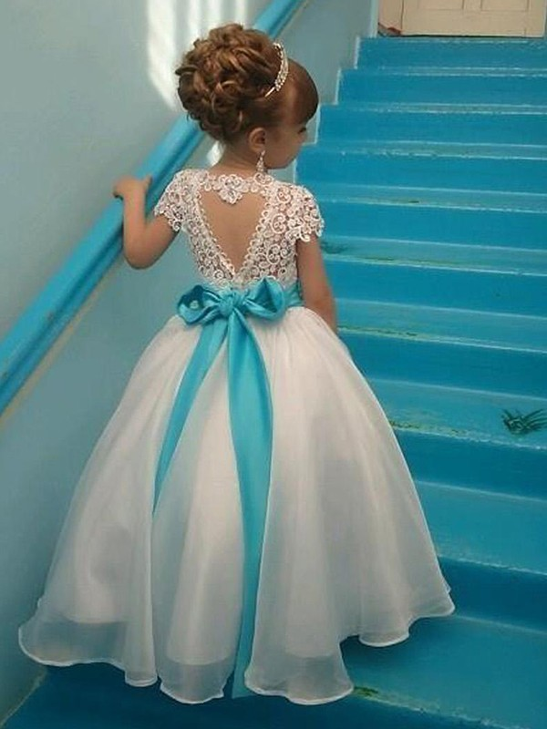 Ball Gown Short Sleeves Scoop Long Organza Flower Girl Dress