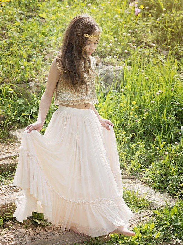 A-Line/Princess Scoop Long Sequins Chiffon Flower Girl Dress