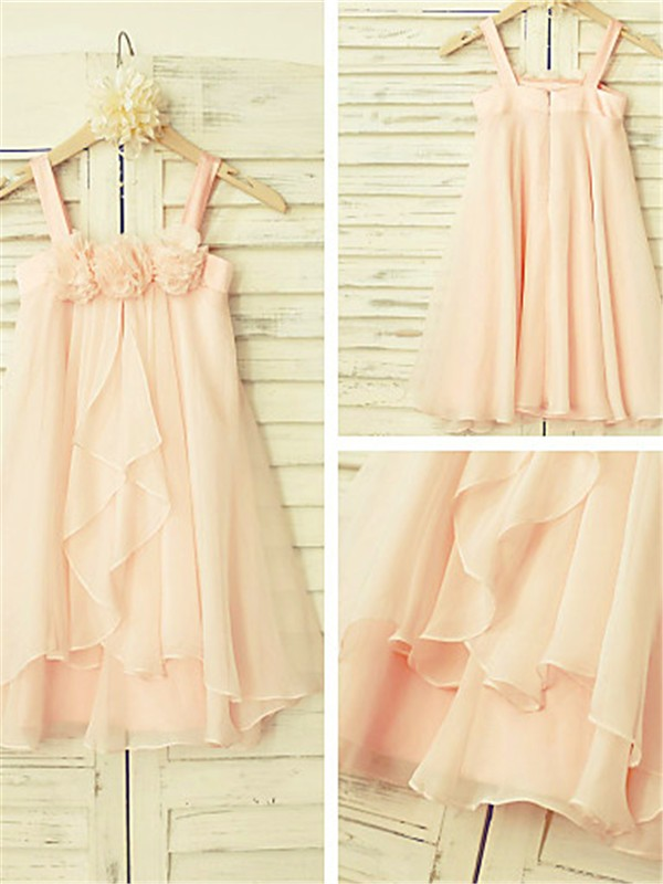A-Line/Princess Spaghetti Straps Tea-Length Chiffon Flower Girl Dress