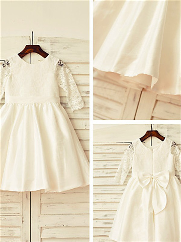 A-Line/Princess Jewel Long Sleeves Lace Tea-Length Satin Flower Girl Dress
