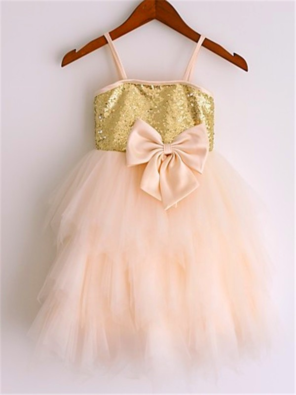 A-Line/Princess Spaghetti Straps Tea-Length Net Flower Girl Dress