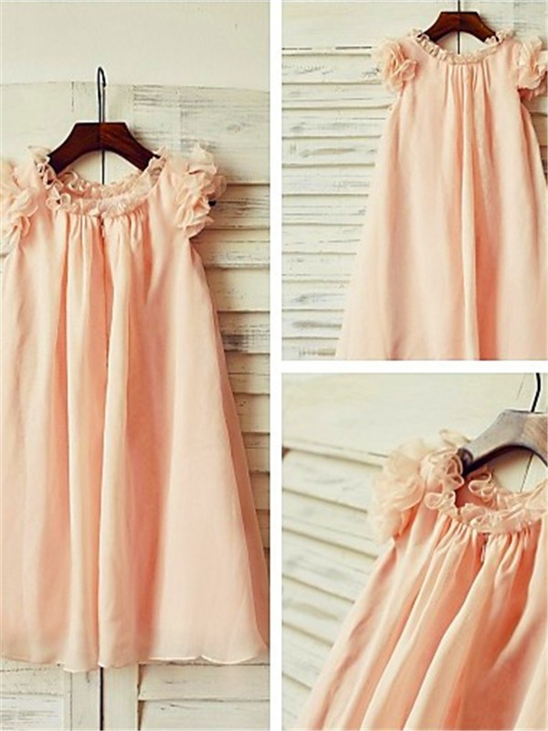 A-Line/Princess Scoop Short Sleeves Tea-Length Chiffon Flower Girl Dress