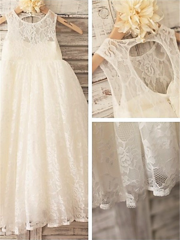 A-Line/Princess Scoop Ankle-length Lace Flower Girl Dress