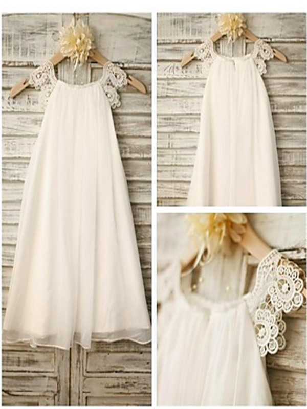 A-Line/Princess Scoop Lace Tea-Length Chiffon Flower Girl Dress