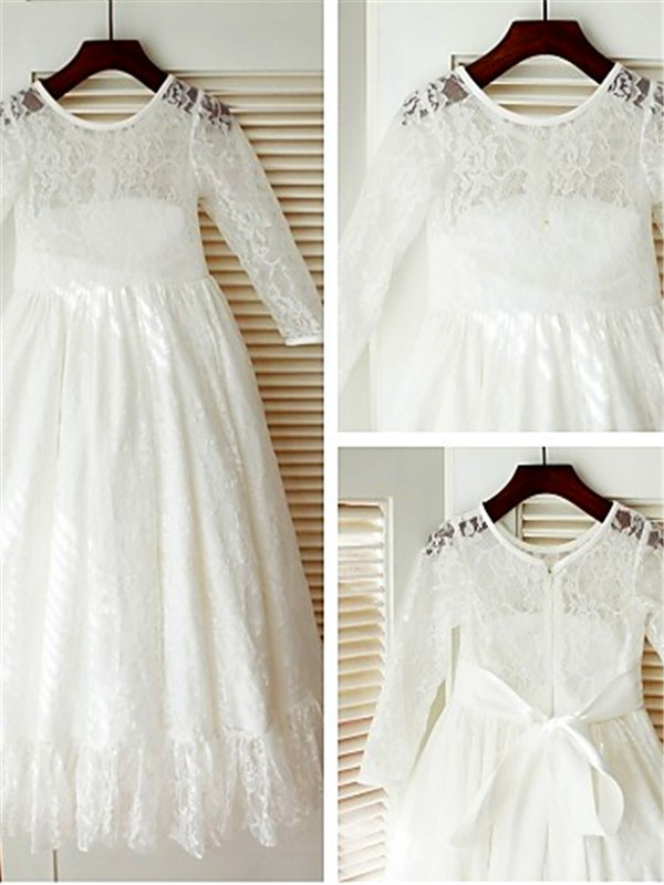 A-Line/Princess Scoop Long Sleeves Ankle-length Lace Flower Girl Dress