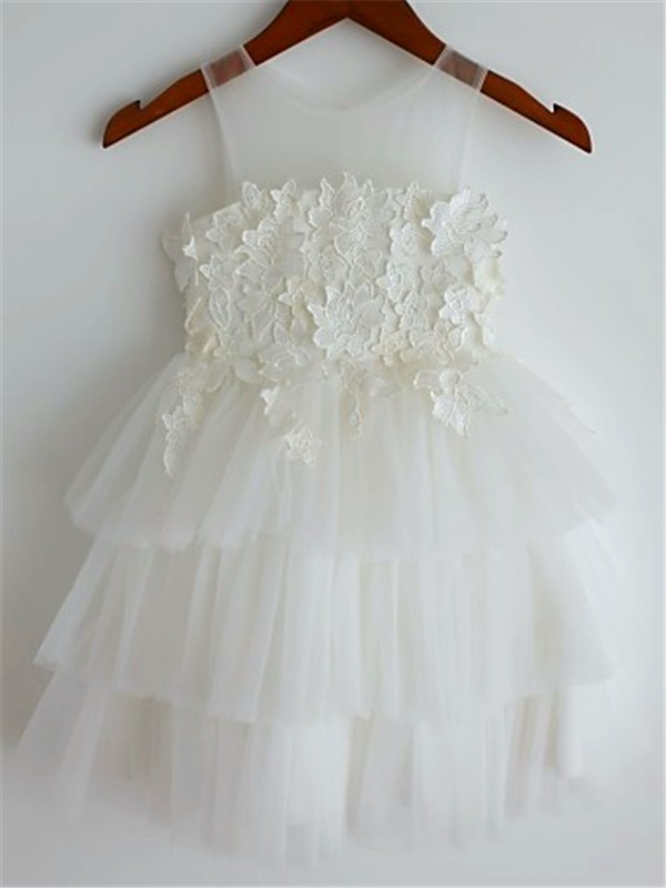A-Line/Princess Straps Lace Tea-Length Tulle Flower Girl Dress