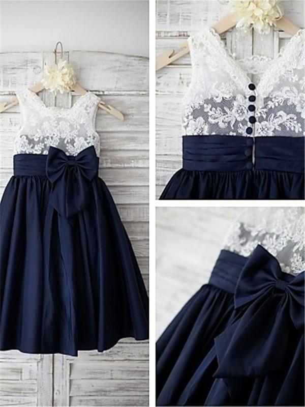A-Line/Princess Straps Tea-length Taffeta Flower Girl Dress