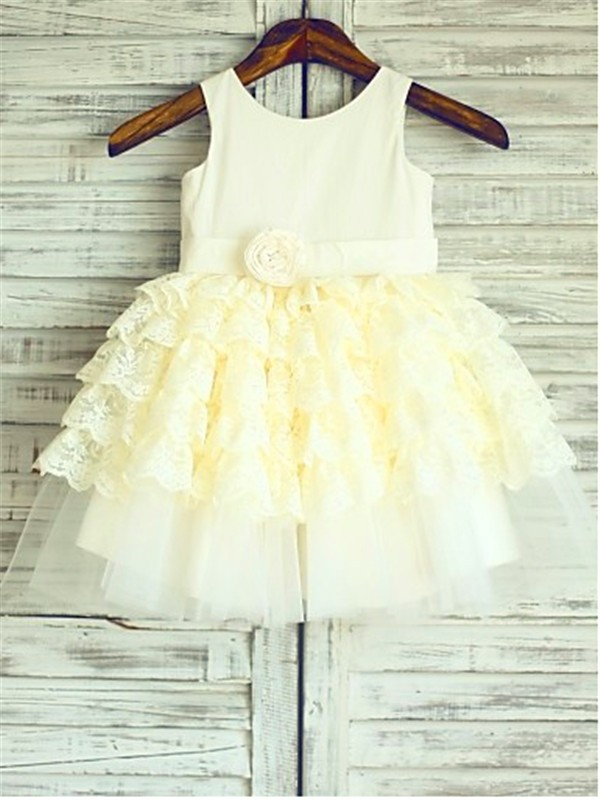 Ball Gown Scoop Tea-Length Lace Flower Girl Dress