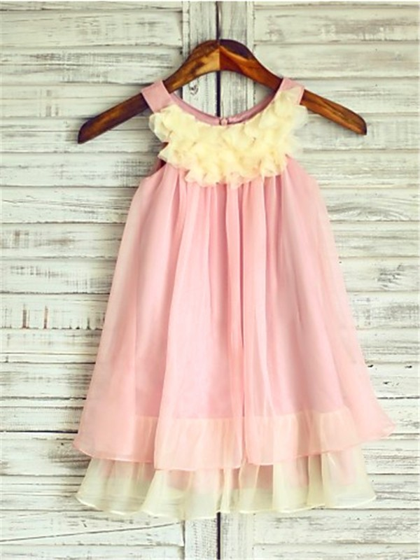 A-Line/Princess Straps Tea-Length Chiffon Flower Girl Dress
